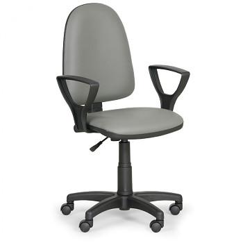Pracovní židle TORINO šedá s područkami, plastový kříž