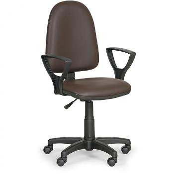 Pracovní židle TORINO hnědá s područkami, plastový kříž