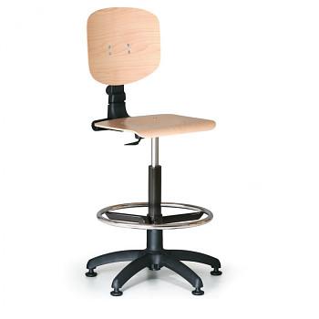 Pracovní židle dřevěná, opěrný kruh, plastový kříž, kluzáky