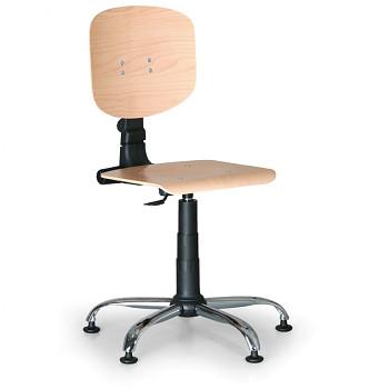 Pracovní židle dřevěná, kovový kříž, kluzáky