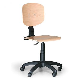 Pracovní židle dřevěná, plastový kříž, kolečka