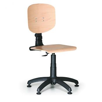 Pracovní židle dřevěná, plastový kříž, kluzáky