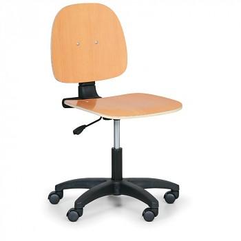 Pracovní židle dřevěná I, plastový kříž, kolečka