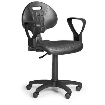 Pracovní židle PUR, černá s područkami, pro měkké podlahy
