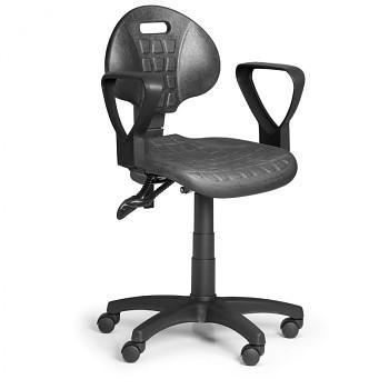 Pracovní židle PUR I, černá s područkami, pro tvrdé podlahy