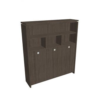 Kancelářská skříň, 2100x1880x460, dub antracit, kombinovaná šatní, ASSIST