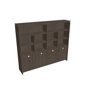 Kancelářská skříň, 2100x2480x460, dub antracit, kombinovaná, ASSIST