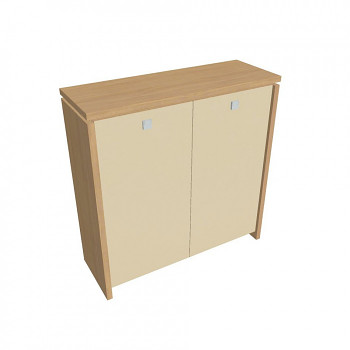 Kancelářská skříň, 1300x1280x460, přír. sv. dub, sklo, ASSIST