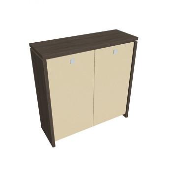 Kancelářská skříň, 1300x1280x460, dub antracit, sklo, ASSIST