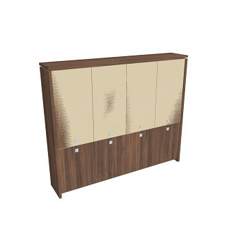 Kancelářská skříň, 2100x2480x460, ořech, kombinovaná sklo, ASSIST