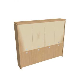 Kancelářská skříň, 2100x2480x460, přír. sv. dub, kombinovaná sklo, ASSIST