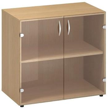 Kancelářská skříň,  735x 800x458, buk, sklo, CLASSIC