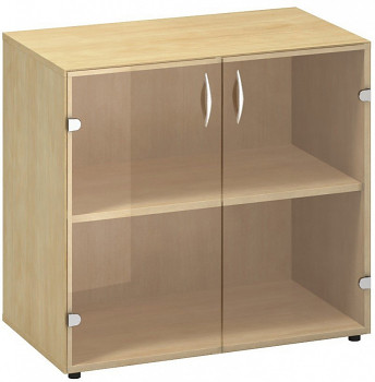 Kancelářská skříň,  735x 800x458, divoká hruška, sklo, CLASSIC