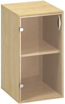 Kancelářská skříň,  735x 400x458, divoká hruška, levá sklo, CLASSIC