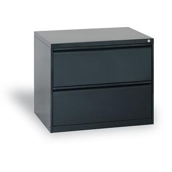 Kartotéka A4 kovová, 2x zásuvka, antracit, dvouřadá