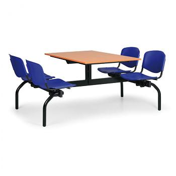 Jídelní set - modrá plastová sedadla