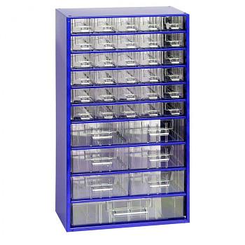 Kovová závěsná skříňka se zásuvkami, 30xA 6xB 1xC