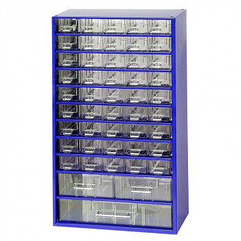 Kovová závěsná skříňka se zásuvkami, 45xA 2xB 1xC