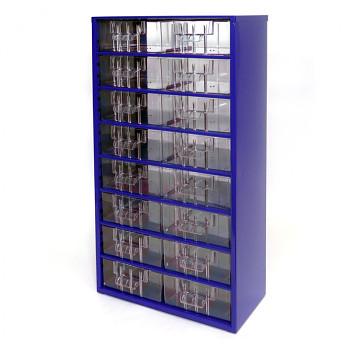 Kovová závěsná skříňka se zásuvkami, 16xB