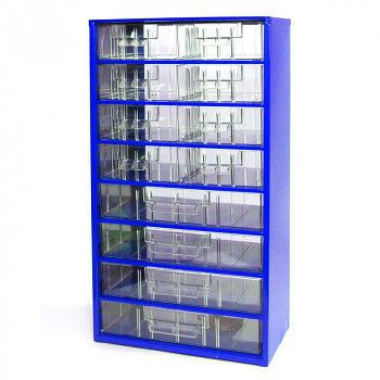 Kovová závěsná skříňka se zásuvkami, 8xB 4xC