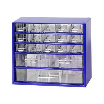 Kovová závěsná skříňka se zásuvkami, 15xA 2xB 1xC