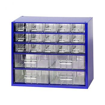 Kovová závěsná skříňka se zásuvkami, 15xA 4xB