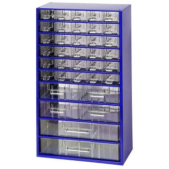 Kovová závěsná skříňka se zásuvkami, 30xA 4xB 2xC