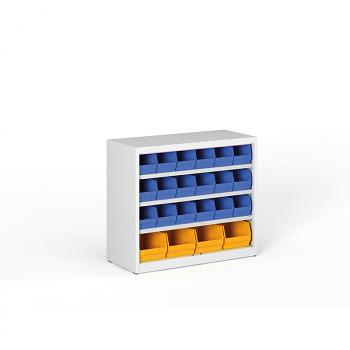 Regál s plastovými boxy