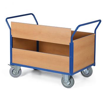 Stavebnicový plošinový vozík - 4 plné stěny, 1 delší stěna dělená