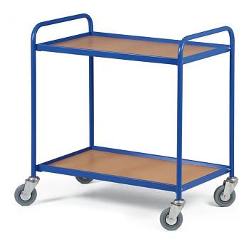Policový vozík 100 kg,  750 x 420 mm, 2x police v rámu, modrý