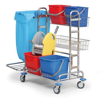 Profesionální úklidový vozík dvojkbelíkový, 2x drátěná police