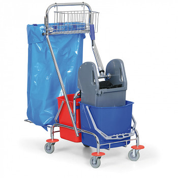 Úklidový vozík s drátěným košem