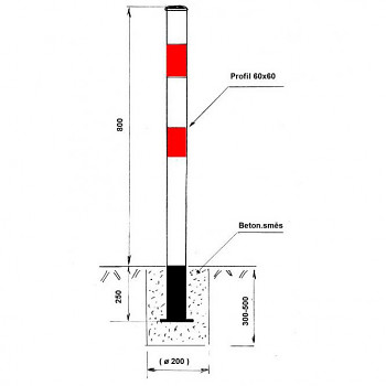 Parkovací sloupek základní - pevný (nesklopný), k zabetonování