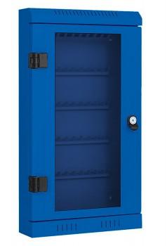 Skříňka na klíče,  50 klíčů, prosklená, modrá