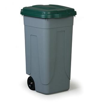 Mobilní odpadkový koš 100 l, zelené víko