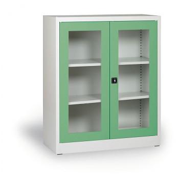 Kovová skříň s prosklenými dveřmi zelená 1150x920x400 mm