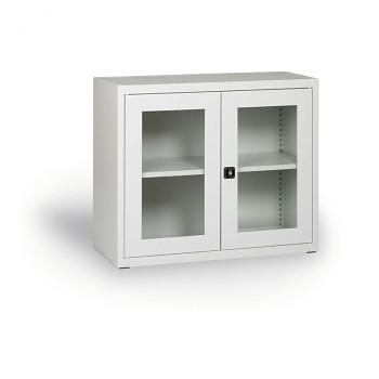 Kovová skříň s prosklenými dveřmi šedá 800x920x400 mm