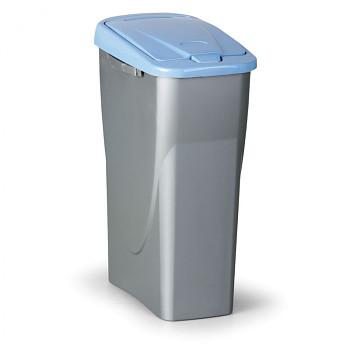 Koš na tříděný odpad ECOBIN 25 l, šedostříbrný/modré víko