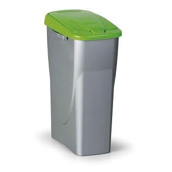 Koš na tříděný odpad ECOBIN 25 l, šedostříbrný/zelené víko
