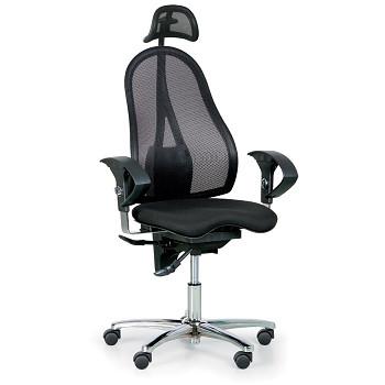 Kancelářská židle EXETER NET černá s opěrkou hlavy