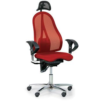 Kancelářská židle EXETER NET červená s opěrkou hlavy
