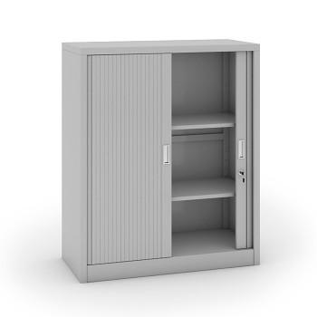 Kovová skříň s žaluziovými dveřmi 1200x1000x450 mm, světle šedá