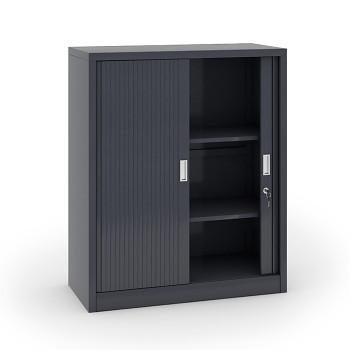 Kovová skříň s žaluziovými dveřmi 1200x1000x450 mm, tmavě šedá