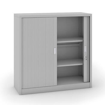 Kovová skříň s žaluziovými dveřmi 1200x1200x450 mm, světle šedá