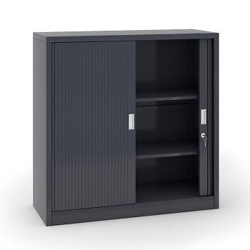 Kovová skříň s žaluziovými dveřmi 1200x1200x450 mm, tmavě šedá