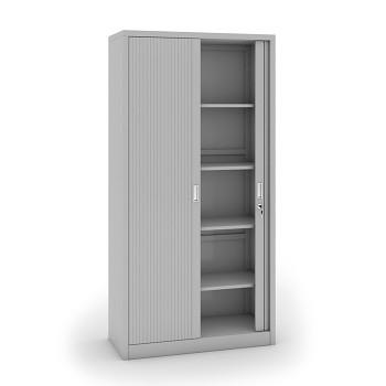 Kovová skříň s žaluziovými dveřmi 1990x1000x450 mm, světle šedá