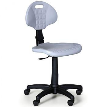 Pracovní židle PUR, šedá bez područek, pro tvrdé podlahy