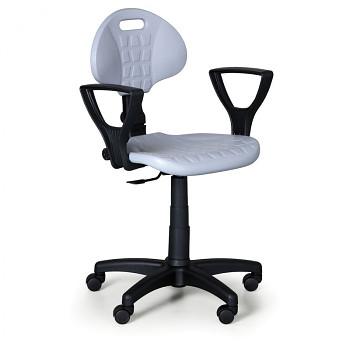 Pracovní židle PUR, šedá s područkami, pro měkké podlahy