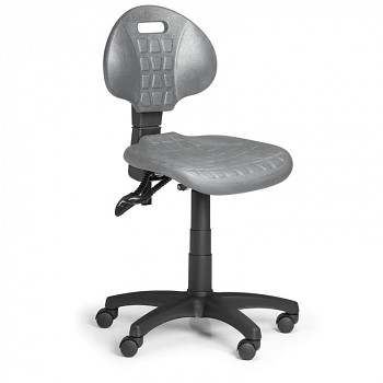 Pracovní židle PUR I, šedá bez područek, pro měkké podlahy