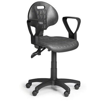 Pracovní židle PUR I, šedá s područkami, pro měkké podlahy